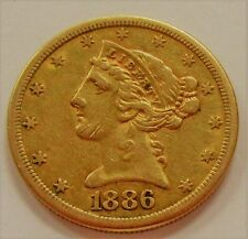 1886-S US $5 Gold Liberty Head * $5 Dollar Gold Bullion Coin