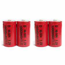 4 pcs D Size 10000mAh NiMH 1.2V Volt Rechargeable Battery Cell Red US Stock