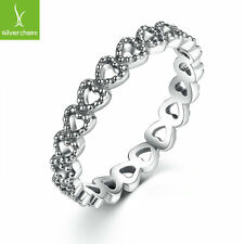 Romantic Silver Heart to Heart Women Ring With Pave CZ Crystal For Friends Gift