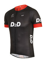 D2D Men's Short Sleeve Cycling Jersey v1: Black and Red, Blue, White or Fluoro