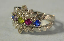 10K White Gold Multi-Color Gemstone Ring, Maker Signed TIARA, 4.7 gms, Size 7.75