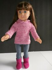 American Girl Doll JLY Truly Me #7 Brunette Blue Eyes + Cozy Sweater Outfit