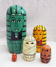 Egyptian Mummy - Hand Painted Russian Doll Set - 5 Dolls - BNWT