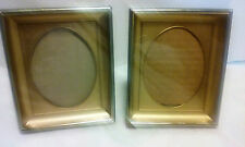 """VINTAGE METAL SHADOW BOX PICTURE FRAME - 4"""" X 3"""" -DECORATED GOLD TRIM (SET OF 2)"""