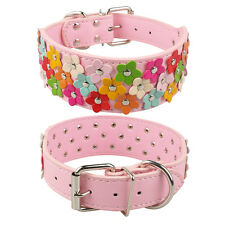 "2.0"" Wide Soft Flower Studded PU Leather Dog Pet Collars for Large Girl Breeds"