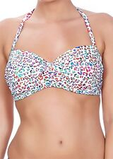 FREYA PARTY ANIMAL MULTI UNDERWIRE PADDED TWIST BANDEAU BIKINI & BRIEF 32E/10E M