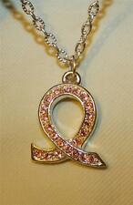 Sparkly Pink Crystal Rhinestone Cancer Survivor Support Ribbon Necklace ++++