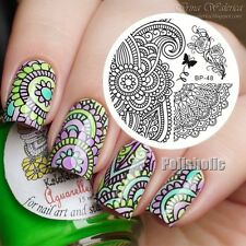 Arabesque & Peony Design Nail Art Stamping Template Image Plate BORN PRETTY BP48
