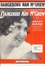 """DANGEROUS NAN McGREW Sheet Music """"Dangerous Nan McGrew"""" Helen Kane"""