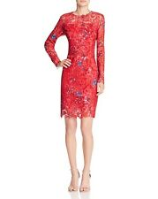 Elie Tahari Red Starla Floral Lace Long Sleeve Sheath Dress Size 8 $498
