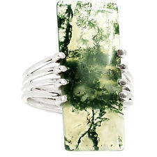 Moss Agate 925 Sterling Silver Ring Jewelry s.7.5 RR27771