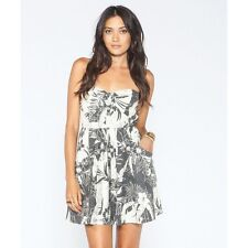2014 NWT WOMENS BILLABONG OCEAN VIEW DRESS $50 M off black white flowers cotton