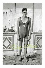 VINTAGE 1920's PHOTO NEAR NUDE ERECT SWIMMER IN TIGHT SWIM SUIT GAY INTEREST 15