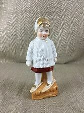 Antique German Porcelain 19th C Child Girl Snow Baby Winter Skiing Hand Painted