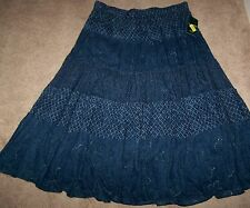 NEW NWT Womens RALPH LAUREN INDIGO SHIBORI DRAWSTRING TIERED MAXI SKIRT 2X XXL !