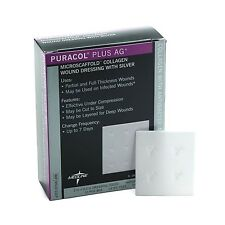 "One Dressing, Puracol Plus Collagen AG SILVER Wound 2"" x 2.2"" #MSC8722EP FAST!"