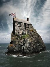 PHOTOGRAPHY COMPOSITION CRAZY HOUSE ROCKY ISLAND SHEEP ART PRINT POSTER MP3370A