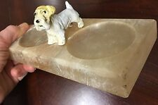 Vintage ARTDECO TERRIER,Sealyham,Scotty,Sealy,Cesky DOG Pin Alabaster Tray