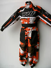 WULFSPORT AGE 9-10 ORANGE CAMO KIDS OFF ROAD OUTDOOR PLAY SUIT QUAD OVERALLS SX