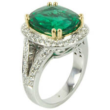 7.90 Carat Cushion Cut Emerald Diamond Gold Ring