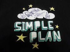 -Signed- RARE SIMPLE PLAN  BAND  AUTOGRAPHED T SHIRT FREE U.S. SHIPPING LOOK