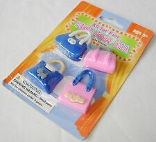 NEW 4 NOVELTY PUZZLE ERASERS RUBBERS BLUE PINK HANDBAGS PARTY BAG FILLER!