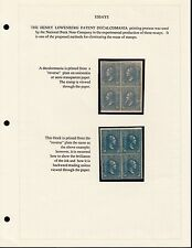 #79-E8 BLUE, BLK/4 PLATE ESSAY ON ONIONSKIN, IMPERF ON PAGE PAGE BQ5067 JLV