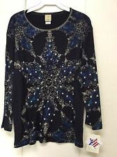 Jess and Jane Holiday & Christmas Snowflakes Black Blue Shirt New Extra Large XL