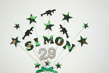 Army, gun, xbox game, stars, Birthday cake topper personalised with name & age