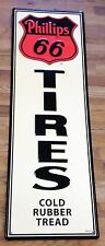 "PHILLIPS 66 TIRES SERVICE GAS STATION ADVERTISING EMBOSSED STEEL HUGE 42"" SIGN"