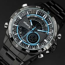 INFANTRY Mens Digital Chronograph Wrist Watch Navy Metal Black Stainless Steel