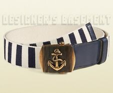 GUCCI navy & ivory Stripe Canvas 38-95 brass ANCHOR Slip buckle Belt NWT Authent