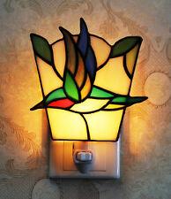Makenier Tiffany Style Stained Glass Humming Bird Small Wall Lamp Night Light