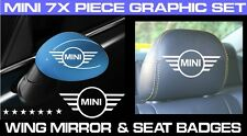 MINI ONE/ MINI COOPER CAR SEAT HEADREST BADGES & WING MIRROR DECALS (7 X PIECES)