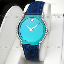 Men's Movado HORIZON SAPPHIRE Diamond 18K Solid Gold Aqua Blue Swiss Watch RARE