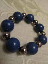 Silver Tone & Dark Blue Plastic Bead Elasticated Bracelet