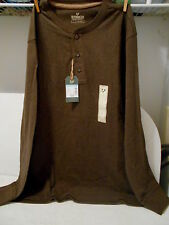Outdoor Life Wilderness Sueded Henley - Long Sleeve Brown Shirt - Mens Large