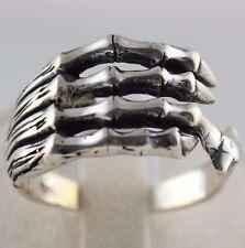 Handmade Gothic 925 Sterling Silver skeleton hand bone Biker Men Ring Size 12