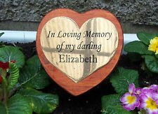 Solid Wooden Memorial Stake Grave Marker Heart Shaped with Personalised Plaque