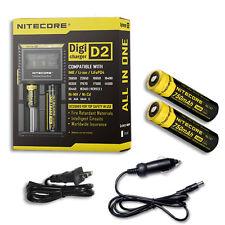 Nitecore Digi Charger D2 w/2x NL147 14500 Batteries +Car & Wall Adaptor