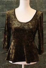 Stunning Princess Highway Forest Green Velvet Peplum Top - Size 12 - VGC