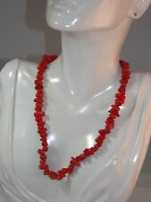 Vintage RED Bamboo Sea Coral Branch Nugget Bead Sterling Silver Necklace  10b 9