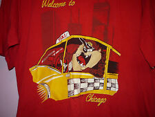 Vintage 90s Welcome To Chicago Tasmanian Devil Taz Taxi Driver T Shirt Red XL