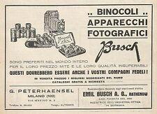 Z0826 Binocoli e Apparecchi Fotografici BUSCH - Pubblicità del 1929 - Advertis.