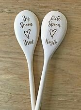 Personalised Wooden Spoons Valentines Day Couple Big Spoon Little Spoon Gift Set