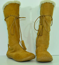 BANANA REPUBLIC Women's 6 Moccasin BOOTS Brown SUEDE Faux Fur LACES