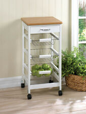 BRAND NEW! Three Baskets KITCHEN SIDE TABLE TROLLEY On Wheels Easy Mobility