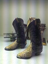 LARRY MAHAN SNAKE SKIN LEATHER WESTERN COWBOY ROCKABILLY DANCE BOOTS SIZE 8 B