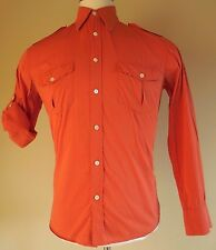 THEORY Mens Shirt S ORANGE Long Sleeve Button Front COTTON Nylon LYCRA Stretch**