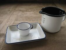 Enamelware Measuring Cup Black Trim + Cup & Tray with Blue Trim-Sweden